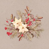 Christmas retro watercolor decorative composition Stock Photography