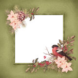 Christmas retro watercolor decorative frame Royalty Free Stock Photography