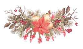 Christmas Retro Watercolor Holiday Garland Stock Photo