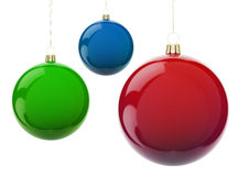 Christmas RGB balls. Multi-colored Christmas balls hanging on white. RGB colors. 3d render with HDR Royalty Free Stock Photography