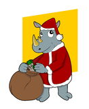 Christmas rhinoceros Stock Photography