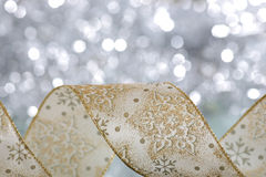 Christmas ribbon. Shallow depth of field royalty free stock photo