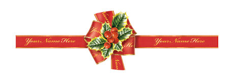 Christmas ribbon. With bow and holly Royalty Free Stock Photo