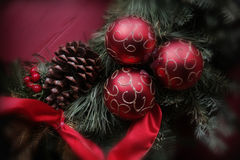 Christmas Ribbon. Christmas decoration. Image is in sharp focus with vignette around the outside edge Royalty Free Stock Image