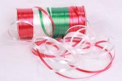 Christmas ribbon. Red, white, greeen christmas ribbon royalty free stock photography