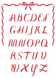 Christmas ribbon alphabet  Royalty Free Stock Photo
