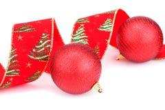 Christmas ribbon and balls Stock Image