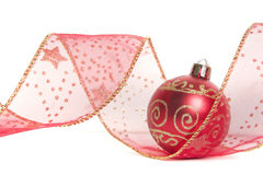 Christmas Ribbon and Bauble Royalty Free Stock Photo