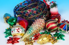 Christmas ribbon and baubles. Stock Photo