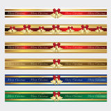 Christmas ribbon bells. Festive Christmas ribbons for decoration Stock Photography