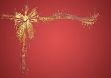 Christmas ribbon bow. Christmas background with glittery liquid ribbon bow Stock Photos