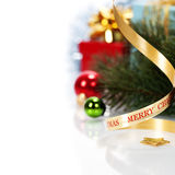 Christmas ribbon bow with decorations Stock Image