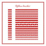 Christmas ribbon brushes. Set of red decorative ribbons. Vector Christmas or New Year design element. royalty free illustration