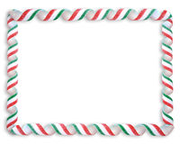 Christmas Ribbon Candy Frame Stock Image