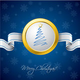 Christmas ribbon card in blue Stock Image