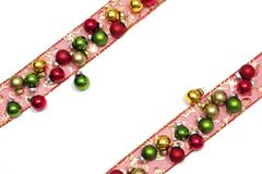 Christmas ribbon and christmas balls Stock Image