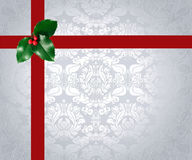 Christmas Ribbon and Holly Royalty Free Stock Photography
