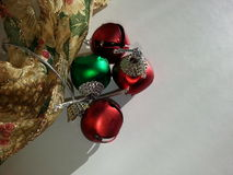 Christmas ribbon and jingle bells background Royalty Free Stock Images