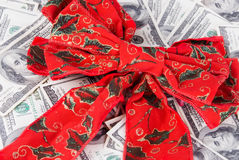 Christmas Ribbon and Money Stock Photo