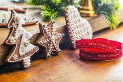 Christmas. Christmas ribbon pastry gingerbread and decoration.  Royalty Free Stock Photo