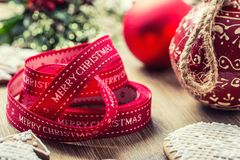 Christmas. Christmas ribbon pastry gingerbread and decoration.  Stock Photo