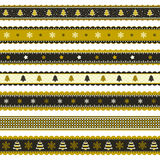 Christmas ribbon patterns in gold and black Stock Photo