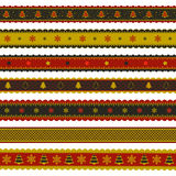 Christmas ribbon patterns in red, gold and black Royalty Free Stock Image