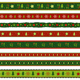 Christmas ribbon  patterns set Royalty Free Stock Photos