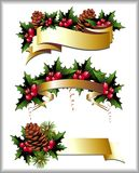 Christmas ribbon with pinecone and holly. Pinecone holly christmas holiday berry leaf tree Stock Image