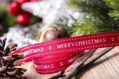 Christmas ribbon scissors decorations fir stars balls Stock Images