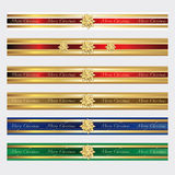 Christmas ribbon star. Festive Christmas ribbons for decoration Royalty Free Stock Photo