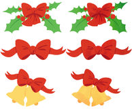 Christmas Ribbons. Red ribbon, red ribbon with mistletoe and one with golden bells. 2 versions available, one plain and one with watercolor textures Royalty Free Stock Images