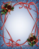 Christmas Ribbons Border Blue Royalty Free Stock Photos