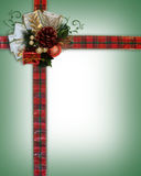 Christmas Ribbons and bow corner. Image and illustration Composition Christmas Corner design with ornament and curled, plaid ribbon for border or frame with copy vector illustration