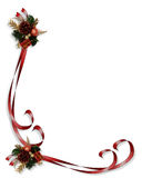Christmas Ribbons Corner Design. Image and illustration Composition for Christmas Corner design with ornament and curled, red ribbons royalty free illustration