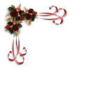 Christmas ribbons corner design Stock Photography