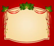 Christmas ribbons decorated frame Royalty Free Stock Images