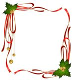 Christmas ribbons decorated frame Stock Images