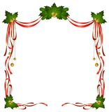 Christmas ribbons decorated frame Royalty Free Stock Photo