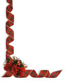 Christmas Ribbons and flowers corner. Image and illustration Composition Christmas Corner design with poinsettias and curled, plaid ribbon for border or frame royalty free illustration