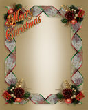 Christmas Ribbons frame 3D text Stock Photos