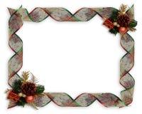 Christmas Ribbons frame or border Stock Photos