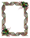 Christmas Ribbons frame or border Stock Photos