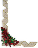 Christmas Ribbons frame or border. Image and illustration Composition Christmas Corner design with holly berries and curled, gold and white ribbon for border or royalty free illustration
