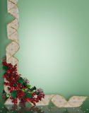Christmas Ribbons frame or border. Image and illustration Composition Christmas Corner design with holly berries and curled, gold and white ribbon for border or vector illustration