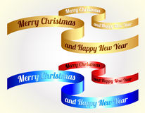 Christmas ribbons / gold, red, blue Stock Photos