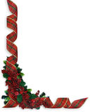 Christmas Ribbons Holly border. Image and illustration Composition Christmas Corner design with holly and curled, plaid ribbon for border or frame with copy Royalty Free Stock Image