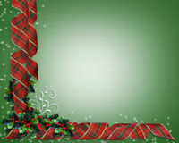 Christmas Ribbons Holly border. Image and illustration Composition Christmas Corner design with holly and curled, plaid ribbon for border or frame with copy Royalty Free Stock Photos