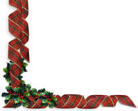 Christmas Ribbons Holly border. Image and illustration Composition Christmas Corner design with holly and curled, plaid ribbon for border or frame with copy Stock Photos