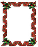 Christmas Ribbons Holly border frame. Image and illustration Composition Christmas Corner design with holly and curled, plaid ribbon for border or frame with Stock Image
